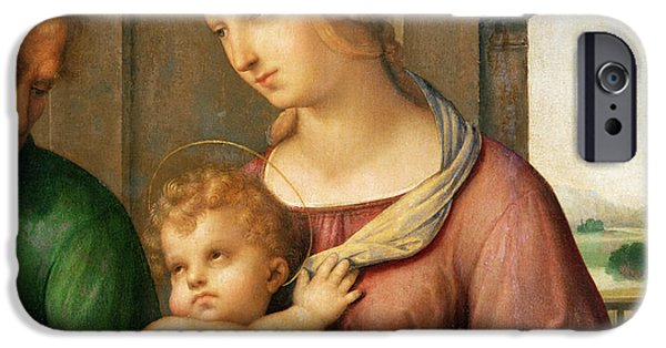 Nativity Paintings iPhone Cases - The Holy Family iPhone Case by Raphael