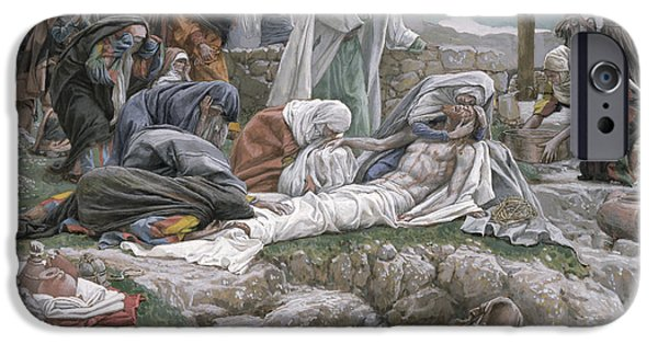 Sadness iPhone Cases - The Holy Virgin Receives the Body of Jesus iPhone Case by Tissot