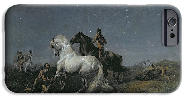 The Horse iPhone Cases - The Horse Thieves iPhone Case by Ferdinand Victor Eugene Delacroix