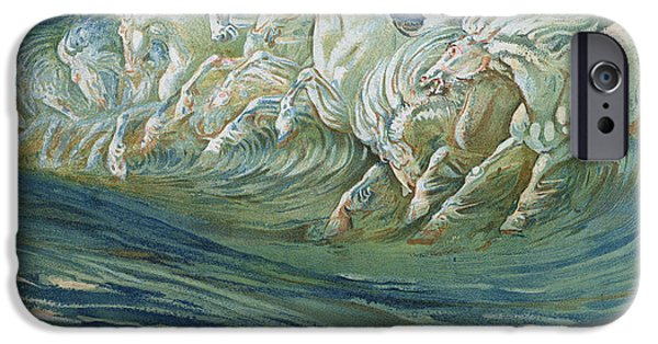 Running iPhone Cases - The Horses of Neptune iPhone Case by Walter Crane