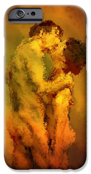 Nude Couple iPhone Cases - The Kiss iPhone Case by Kurt Van Wagner