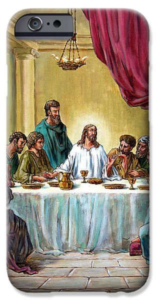 Disciples Paintings iPhone Cases - The Last Supper iPhone Case by John Lautermilch