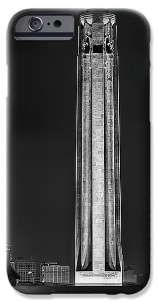 IPhone 6 Case featuring the photograph The Liberty Memorial Black And White by JC Findley