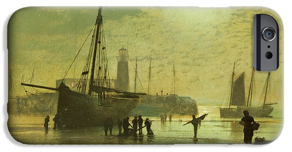 Sailboats iPhone Cases - The Lighthouse at Scarborough iPhone Case by John Atkinson Grimshaw