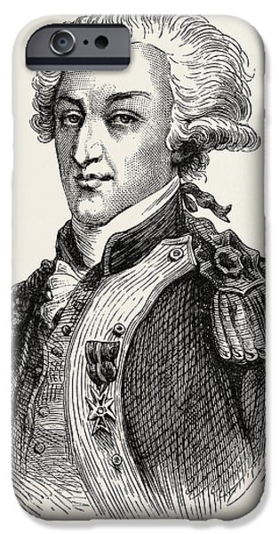 Yorktown Drawings iPhone Cases - The Marquis De Lafayette iPhone Case by American School