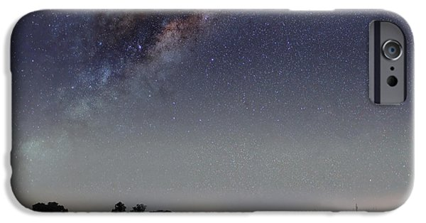 Constellations iPhone Cases - The Milky Way Galaxy Over A Rural Road iPhone Case by Luis Argerich