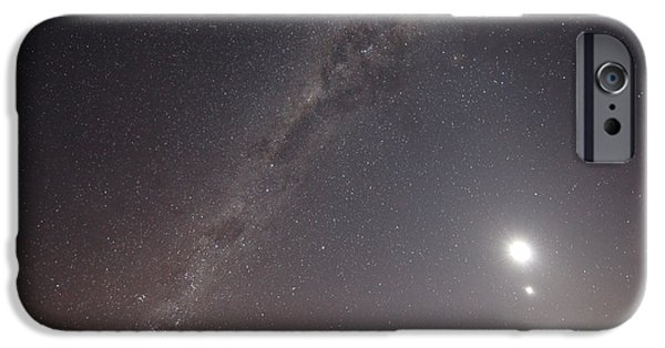 Constellations iPhone Cases - The Milky Way, The Moon And Venus iPhone Case by Luis Argerich