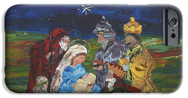 King iPhone Cases - The Nativity iPhone Case by Reina Resto