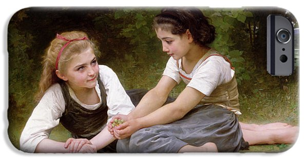 Rest Paintings iPhone Cases - The Nut Gatherers iPhone Case by William-Adolphe Bouguereau