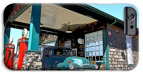 1949 Plymouth iPhone Cases - The Old Texaco Station iPhone Case by Steve McKinzie