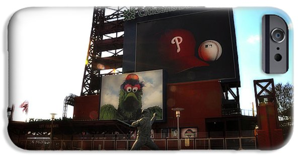 Philadelphia Phillies Stadium Digital iPhone Cases - The Phillies - Steve Carlton iPhone Case by Bill Cannon