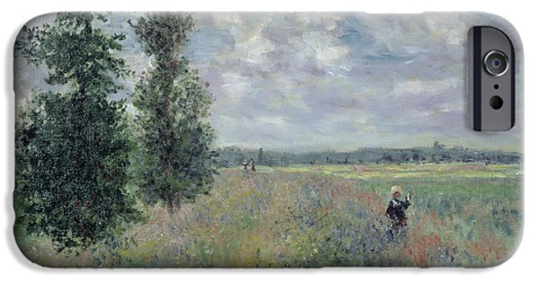 Rural iPhone Cases - The Poppy Field iPhone Case by Claude Monet