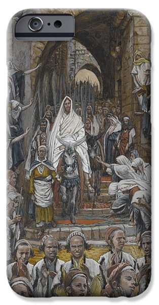 The Followers Paintings iPhone Cases - The Procession in the Streets of Jerusalem iPhone Case by Tissot
