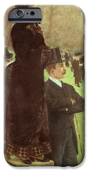 Pastimes iPhone Cases - The Races at Auteuil iPhone Case by Joseph de Nittis