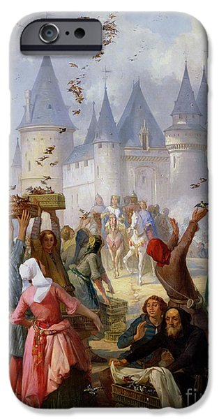 Universities Paintings iPhone Cases - The Return of Saint Louis Blanche of Castille to Notre Dame Paris iPhone Case by Pierre Charles Marquis