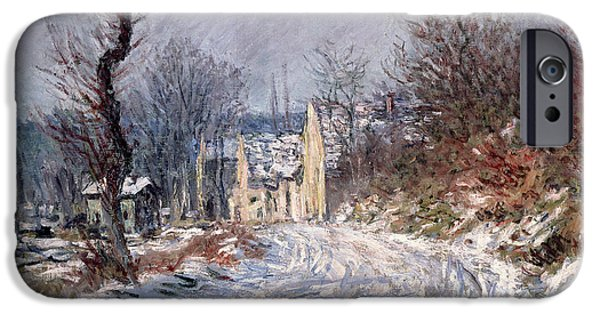 Snow Landscape iPhone Cases - The Road to Giverny in Winter iPhone Case by Claude Monet