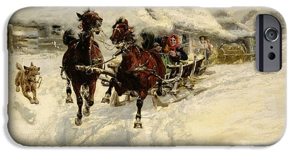 Dog Running. iPhone Cases - The Sleigh Ride iPhone Case by JFJ Vesin