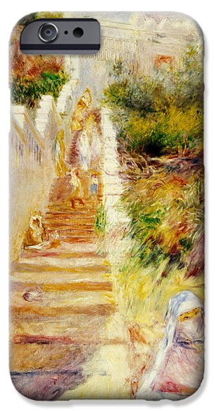 Middle East iPhone Cases - The Steps in Algiers iPhone Case by Pierre Auguste Renoir