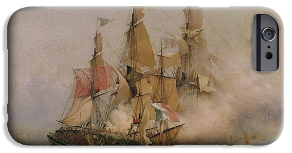 Pirate Ship iPhone Cases - The Taking of the Kent iPhone Case by Ambroise Louis Garneray