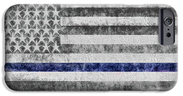 IPhone 6 Case featuring the digital art The Thin Blue Line American Flag by JC Findley
