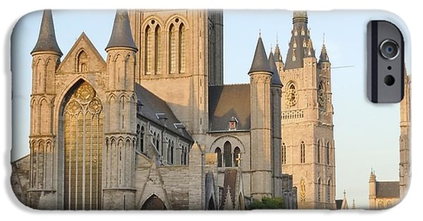 Belgium iPhone Cases - The Three Towers of Gent iPhone Case by Marilyn Dunlap