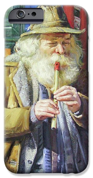 Old Man With Beard iPhone Cases - The Tin Whistle iPhone Case by Conor McGuire