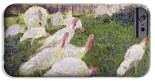 Animals iPhone Cases - The Turkeys at the Chateau de Rottembourg iPhone Case by Claude Monet