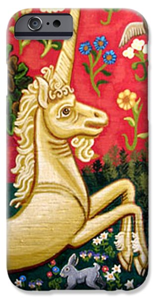 Animals Tapestries - Textiles iPhone Cases - The Unicorn iPhone Case by Genevieve Esson