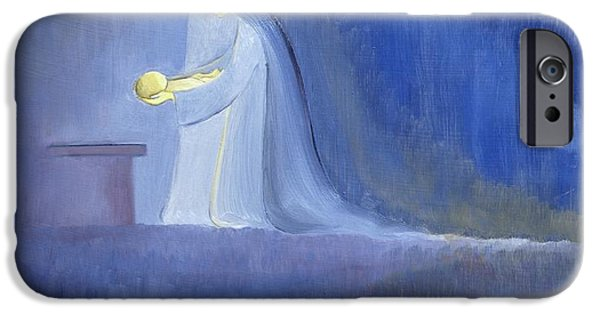 Manger iPhone Cases - The Virgin Mary cared for her child Jesus with simplicity and joy iPhone Case by Elizabeth Wang