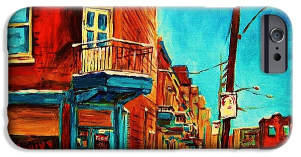 Afterschool Hockey Montreal Paintings iPhone Cases - The Wilensky Doorway iPhone Case by Carole Spandau