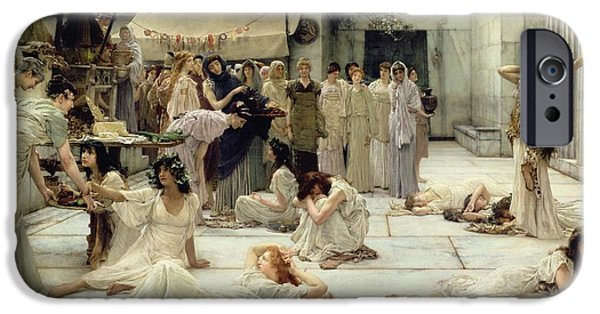 Column iPhone Cases - The Women of Amphissa iPhone Case by Sir Lawrence Alma-Tadema
