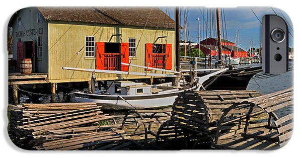 Historic Schooner iPhone Cases - Thomas Oyster Co.- Mystic iPhone Case by Thomas Schoeller