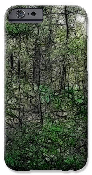 Walden Pond iPhone Cases - Thoreau Woods Fractal iPhone Case by Lawrence Christopher