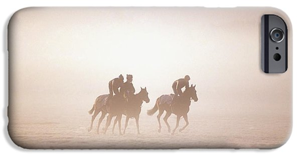 Horse Racing iPhone Cases - Thoroughbred Horses In Training iPhone Case by The Irish Image Collection
