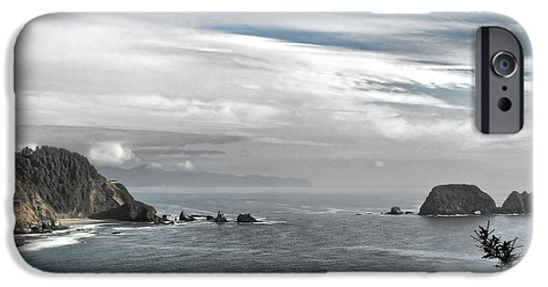 Coast Highway One iPhone Cases - Three Arch Rocks National Wildlife Refuge near Cape Meares Oregon iPhone Case by Christine Till