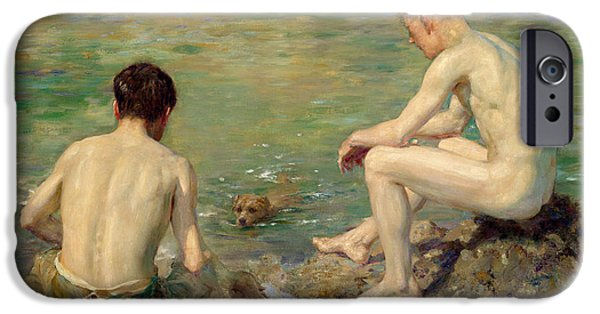 Paddle iPhone Cases - Three Companions iPhone Case by Henry Scott Tuke