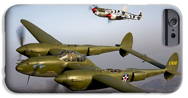 Best Sellers -  - World War One iPhone Cases - Three Lockheed P-38 Lightnings iPhone Case by Scott Germain