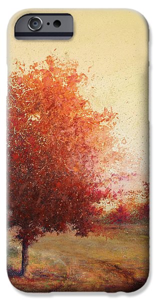Country Road iPhone Cases - Three Red Trees iPhone Case by Andrew King