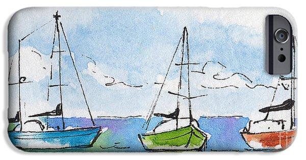 Sailboat Ocean iPhone Cases - Three Sailboats Near Tahiti iPhone Case by Pat Katz