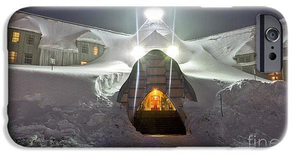 Snow Drifts Photographs iPhone Cases - Timberline Lodge Entry Mt Hood Snowdrifts iPhone Case by Dustin K Ryan