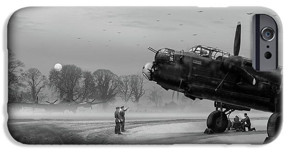IPhone 6 Case featuring the photograph Time To Go - Lancasters On Dispersal Bw Version by Gary Eason