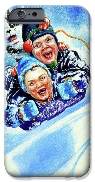 Dogs In Snow. Paintings iPhone Cases - Toboggan Terrors iPhone Case by Hanne Lore Koehler