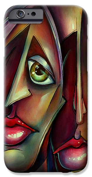 Mood Paintings iPhone Cases - together Watching iPhone Case by Michael Lang