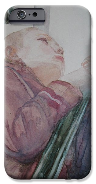 Figures Paintings iPhone Cases - Top of the Lighthouse Stairs iPhone Case by Jenny Armitage