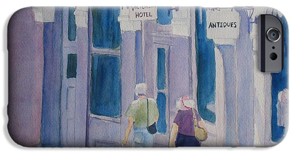 City Scape iPhone Cases - Tourists in Central City iPhone Case by Jenny Armitage