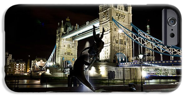 Night Lamp iPhone Cases - Tower Bridge With Girl and Dolphin Statue iPhone Case by David Pyatt