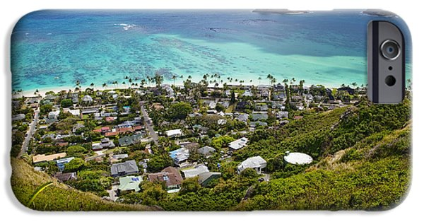 Village iPhone Cases - Town of Kailua with Mokulua Islands iPhone Case by Inti St. Clair