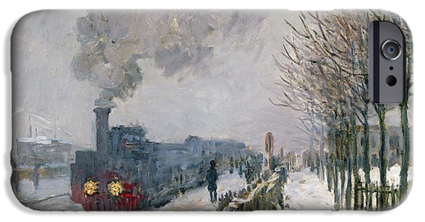 Fog iPhone Cases - Train in the Snow or The Locomotive iPhone Case by Claude Monet