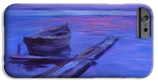 Purple Drawings iPhone Cases - Tranquil boat sunset painting iPhone Case by Svetlana Novikova