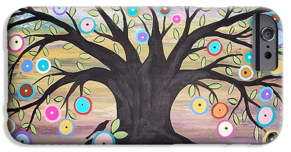 Colorful Prints iPhone Cases - Tree Of Life And Bird iPhone Case by Karla Gerard